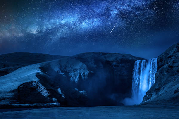Waterfall and stars